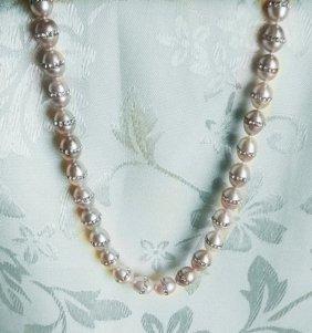 Crystal Rhinestone Freshwater Pearl Necklace