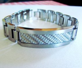 Men Id Bracelet Tungsten Carbide Carbon Fiber
