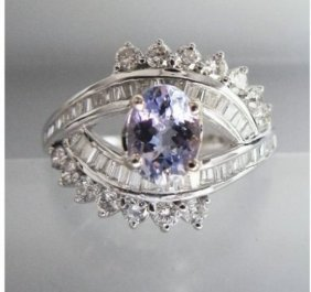 Tanzanite Ring: 1.20ct& Diamond: 1.10ct 18k W/g