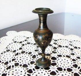 Brass Vintage Vase Flower Design