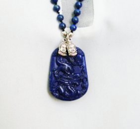 Natural 6-7 Mm Beads Lapis Necklace 26†With