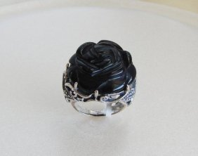 Vintage Black Onyx Carved Rose Design 925 Silver Rings