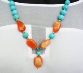 Bead Necklace Turquoise/agate 18k Gp