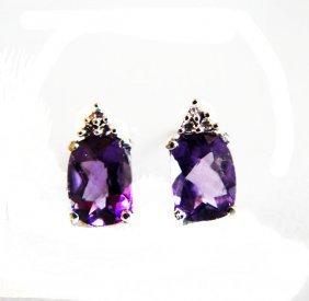 Amethyst Diamond Stud Earrings 2.42ct 14k W/g