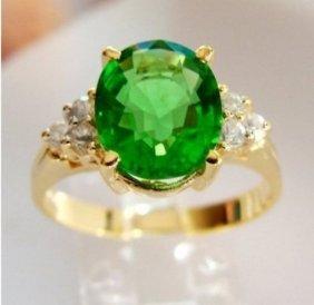 Green Tsavorite Ring: 2.02ct Diamond: .30ct 14ky/g