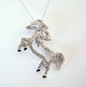 Creation Diamond Horse Pendant 1.40ct 18k W/g Overlay