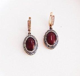 Red Agate Earrings 18k Y/g Overlay