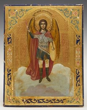Russian Icon Of The Archangel Michael, Early 20th C.,