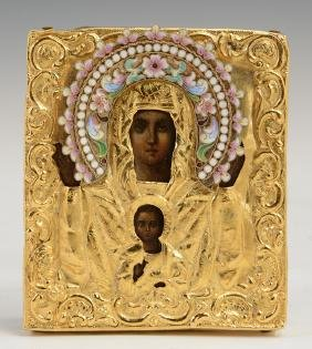 Diminutive Russian Icon Of The Virgin Of The Sign, St.