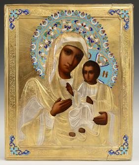 Russian Icon Of The Virgin, 19th C., With An Enamel And