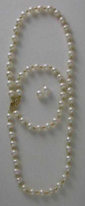 Three Piece White 7mm Cultured Pearl Set, Consisti