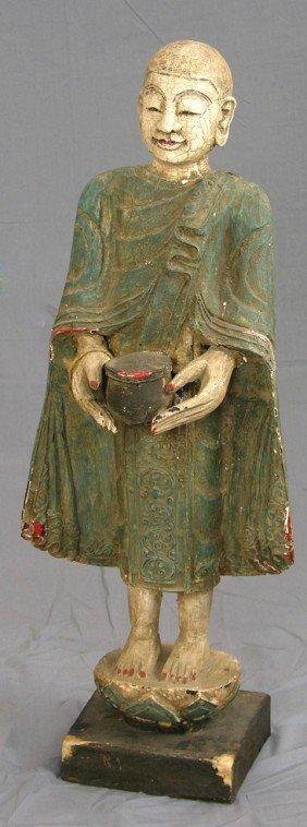 Carved Chinese Polychromed Wooden Figure, Early 20