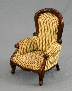 Victorian Style Carved Mahogany Child's Fauteuil,