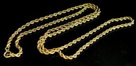 14K Yellow Gold Braided Rope Twist Necklace, L.- 2