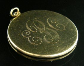14K Yellow Gold Pendant, Early 20th C., Monogramme