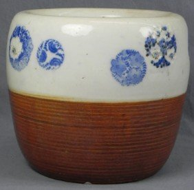 Japanese Glazed Jardini�re, 19th C., Half In Ribbed