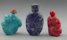 Three Snuff Bottles, 20th C., A Carved Lapis Examp