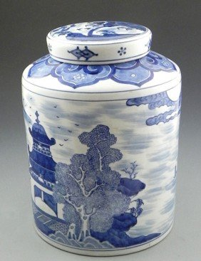 Large Japanese Arita Porcelain Covered Jar, 20th C