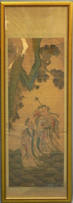 Chinese Painted Silk Scroll, Ming Dynasty, 18th C.