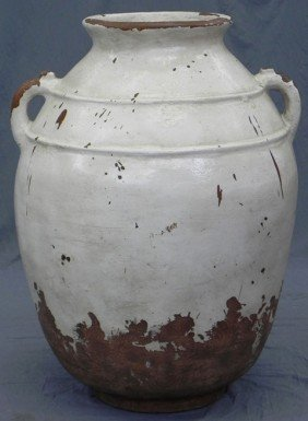 Large Terra Cotta Baluster Form Oil Jar, 19th C, W