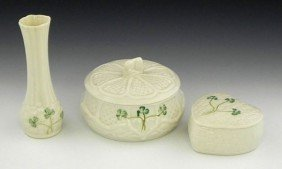 Three Pieces Of Belleek, Consisting Of A Bud Vase,
