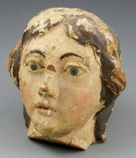 Italian Polychromed Carved Wood Santo Head, 19th C