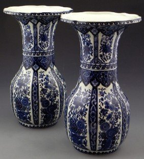 Pair Of Delft Baluster Vases, 20th C., With Scallo