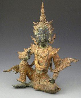 Thai Bronze Figure, 19th C., Of A Seated Buddha, H