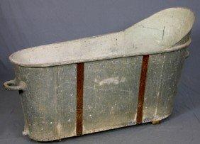 Galvanized Iron Bathtub, 19th C., With Handles At