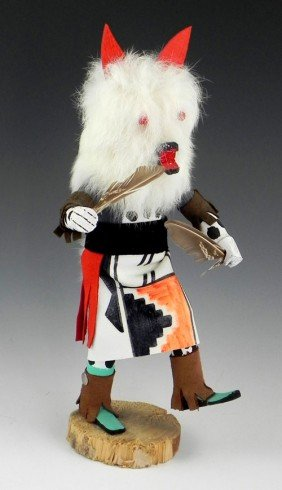 "Kachina Doll, 20th C, ""Wolf,"" Signed P.B., H.- 12 I"