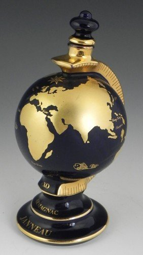 Unusual Cobalt Porcelain Globe Form Decanter, 20th