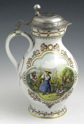 German Porcelain Wine Pitcher, 20th C., With A Reli