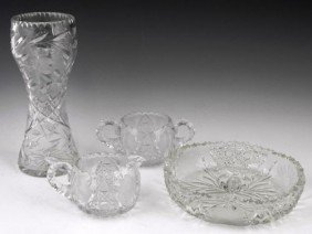 Group Of Four Pieces Of Cut Glass, 20th C., Consist