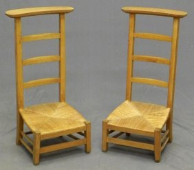 Pair Of Carved Walnut Prie Dieus, 20th C., With Lad