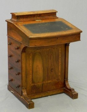 Inlaid Walnut Davenport Desk, C. 1895, The Top With