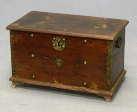 Carved Walnut Document Box, 19th C., With Folding I
