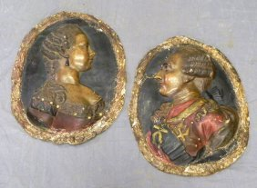 Pair Of Continental Polychromed Oval Papier Mache R