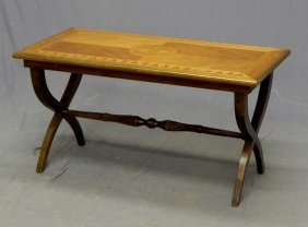 Inlaid Carved Mahogany Coffee Table, 20th C., With