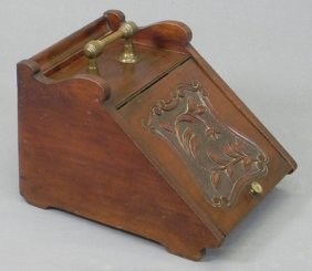 English Carved Mahogany Coal Hod, 19th C., With A B