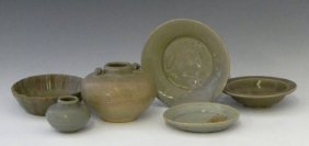 Group Of Six Pieces Of Oriental Glazed Earthenware