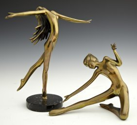 Two Art Deco Style Bronze Dancing Female Figures, Late