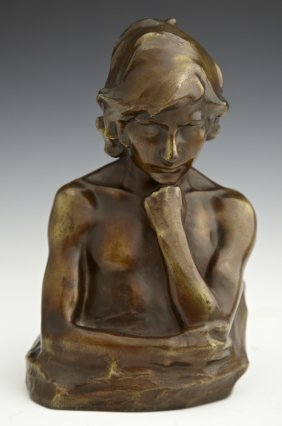 "A. Kagle, ""Bust Of A Youth,"" Early 20th C., Patinated B"
