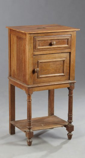 French Louis Philippe Carved Cherry And Oak Nightstand,