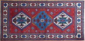 Semi-antique Caucasian Kazak Carpet, 5' X 8'.