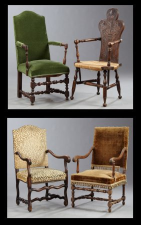 Four French Fauteuils, 19th C., Consisting Of Three