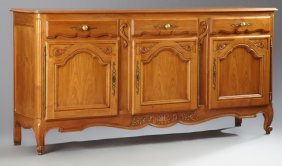 French Louis Xv Style Carved Cherry Sideboard, 20th C.,