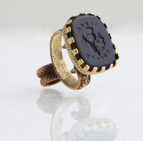 English Gold Plated Carved Onyx Armorial Seal Watch