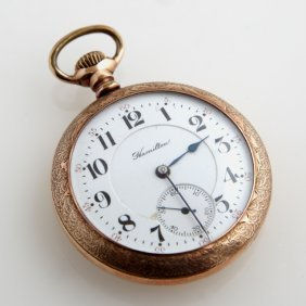 Hamilton Open Face Rolled Gold Pocket Watch, 1907, Ser