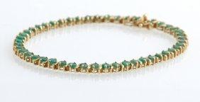 14k Yellow Gold Tennis Bracelet, Each Of The 47 Links