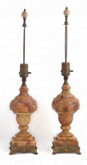 Pair Of Ocher Alabaster Urn Lamps, C. 1920, With Relief